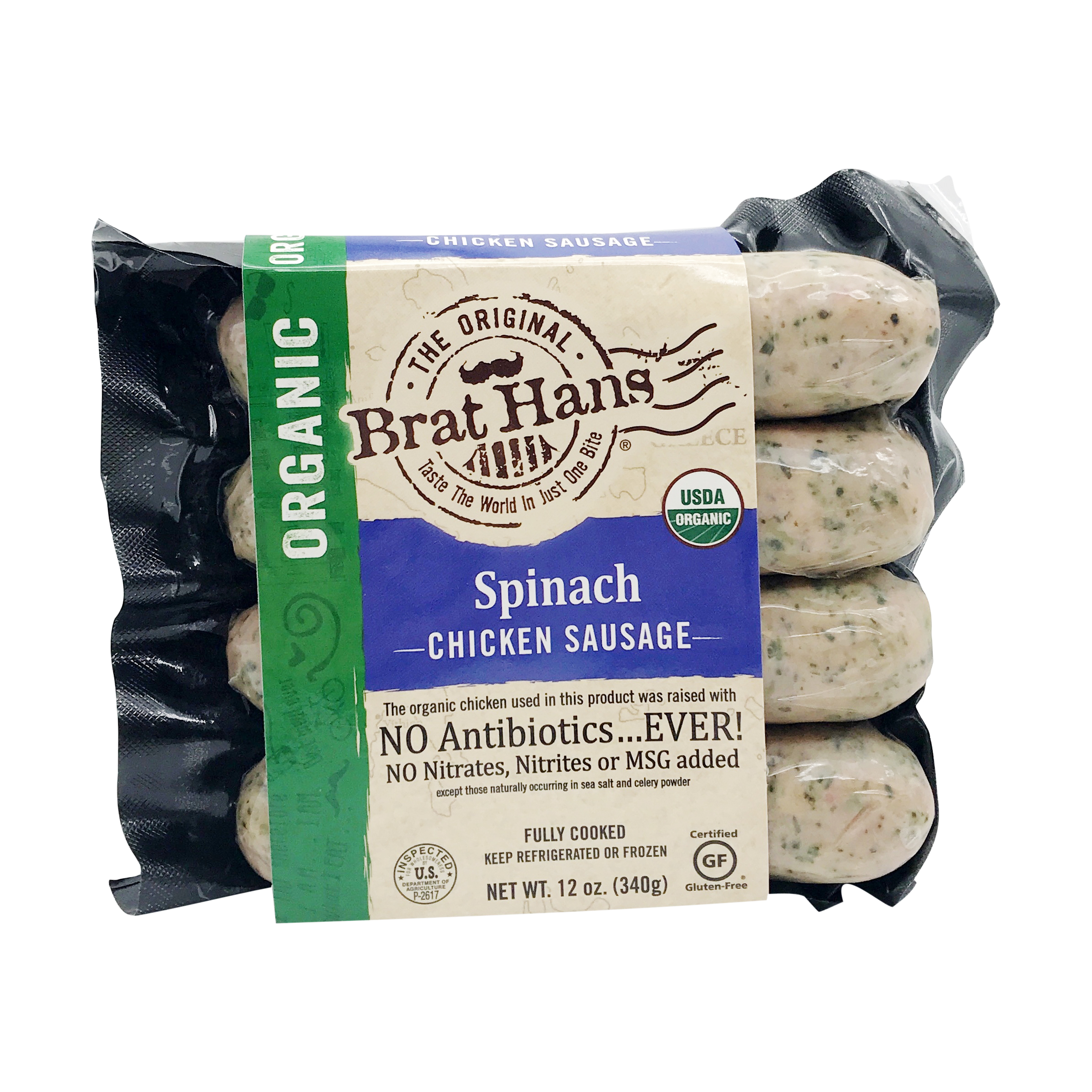 The Original Brat Hans Organic Spinach Chicken Sausage The Original