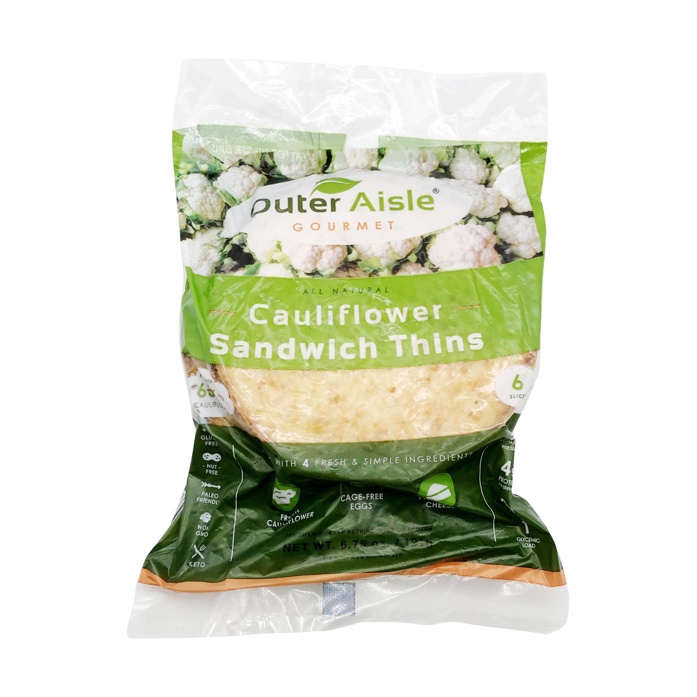 Cauliflower Sandwich Thins, 6 75 oz, Outer Aisle Gourmet