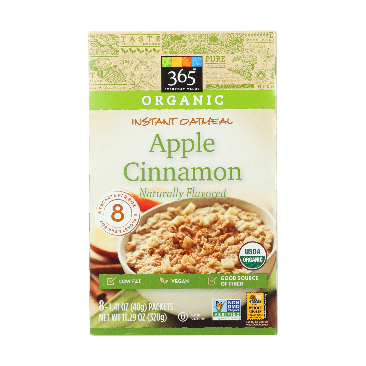 Instant Oatmeal, Apple Cinnamon, 8 ct, 365 Everyday Value® | Whole